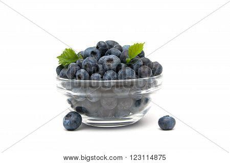 blueberries closeup on a white background. horizontal photo.