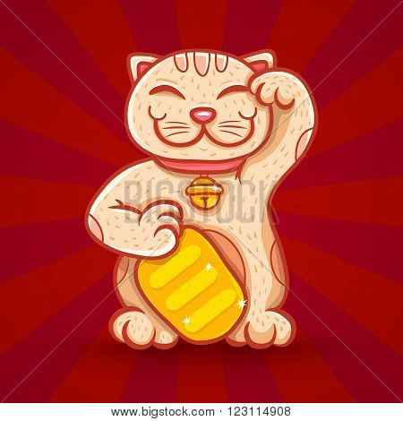 Vector retro poster with lucky cat on red background