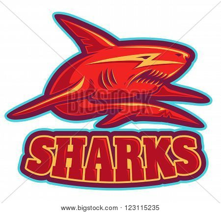 Vector vintage sport logo with red shark