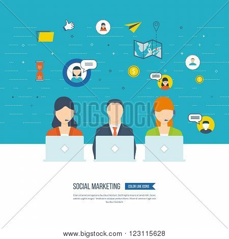 Social network and teamwork concept. Teamwork and communication. Social worker. Online communication and social media concept. Strategy for successful business. Color line icons