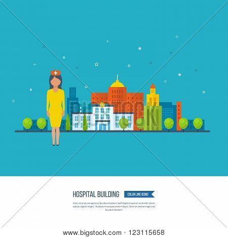 Vector illustration concept for healthcare, medical help and research. Medical first aid. Healthcare worker. Hospital building. Hospital healthcare. Medical center. Online healthcare
