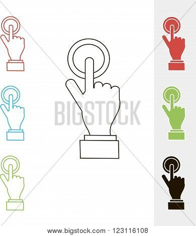 Finger press icons. Design element, object isolated, vector