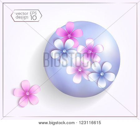 3d spheres with pearl effect and multicolored flowers.  Elements for design. Comfortably editing.