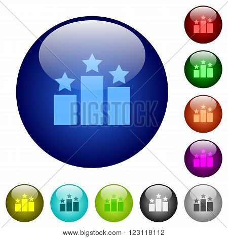 Set of color ranking glass web buttons.