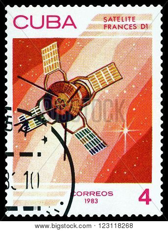 CUBA - CIRCA 1983: A stamp printed in Cuba shows Satellite Frances D1 the study of near-Earth space circa 1983