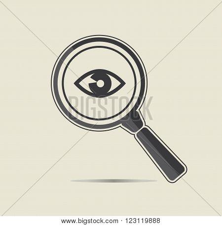 Eye examination illustration. Medical testing concept. Flat vector icon.