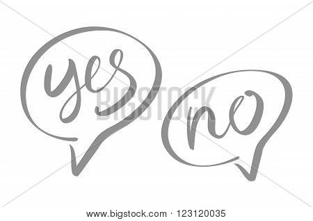 Yes, No speech bubbles, vector, lettering, art
