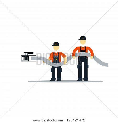Internet connection. Support team, flat design illustration