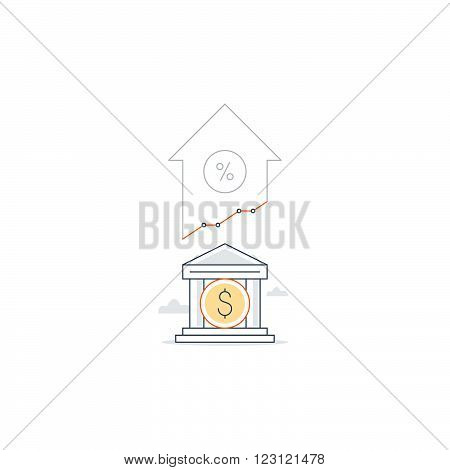 Income growth, profit increase, finance portfolio, linear illustration