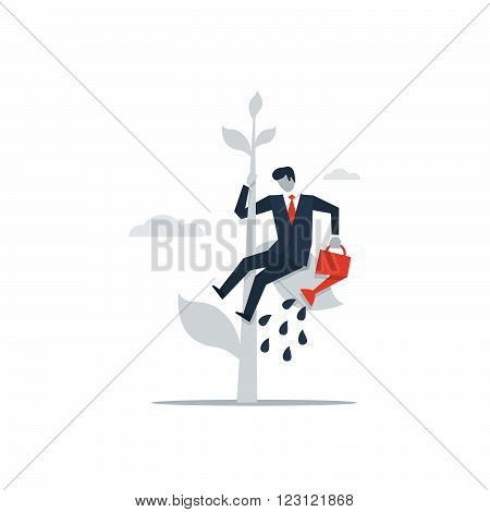 Self investment, business growth and management illustration