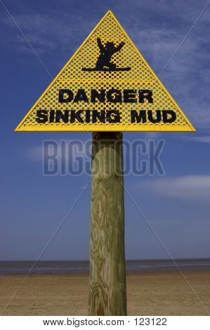 Danger Sinking Mud Sign, Sand Point Beach England Uk