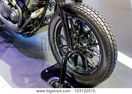 front wheel with stand of black bigbike motorcycle