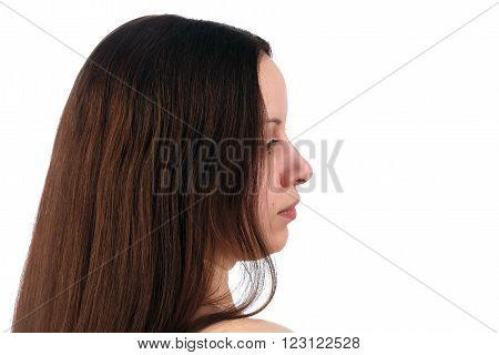 Profile Brown-haired Woman