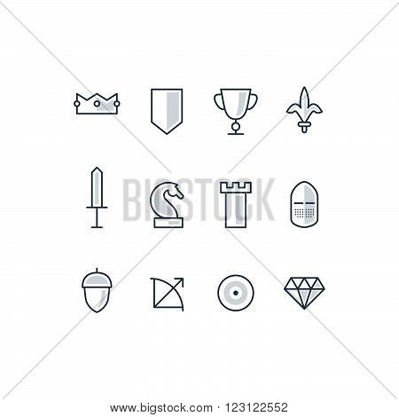 Strategy cocept icons and symbols, linear design illustration