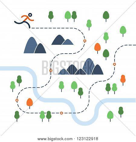 Outdoor running event map, flat design illustration