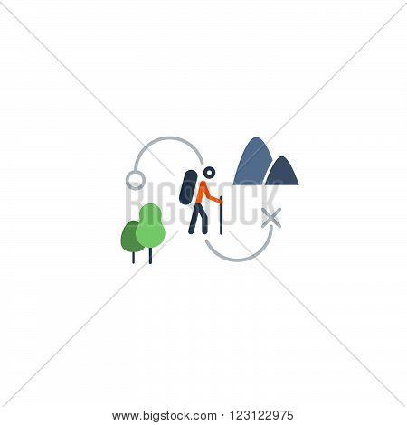 Outdoor activities, nordic walking, flat design illustration