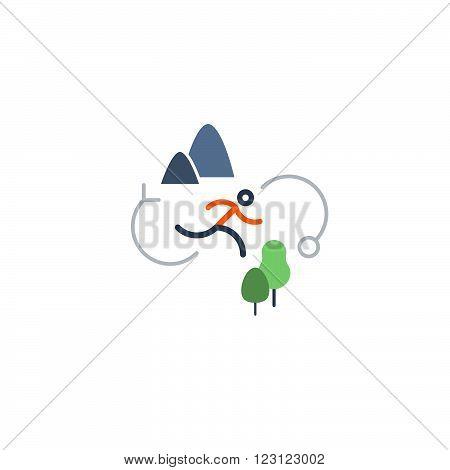 Outdoor running, sports activities, flat design illustration