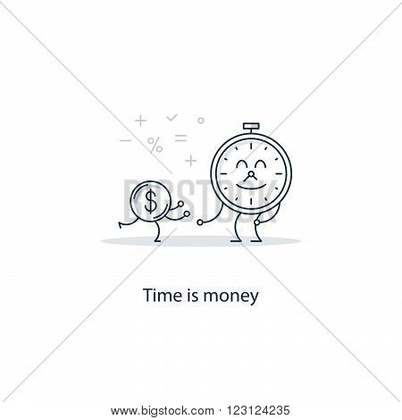 Time is money concept, linear design illustration