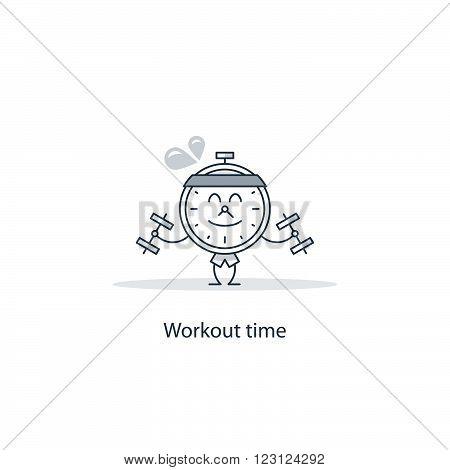 Workout time fancy concept, linear design illustration