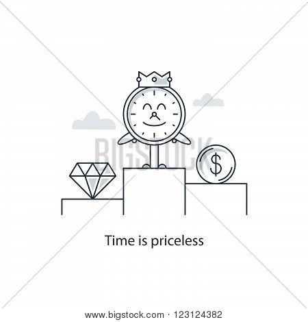 Time is precious concept, linear design illustration