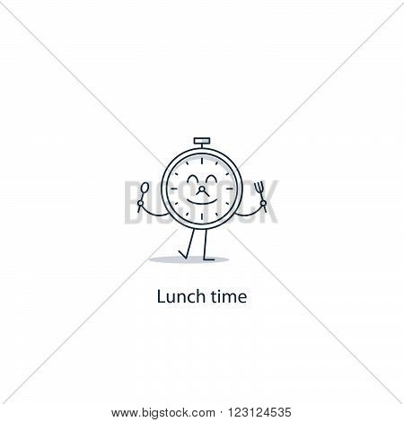Lunch time, linear illustration. Anti cafe concept