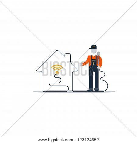 Internet connection support team, flat design illustration