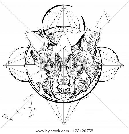 Animal head triangular icon geometric trendy line design. Vector illustration ready for tattoo or coloring book. Wolf head low-poly sketch hand drawn