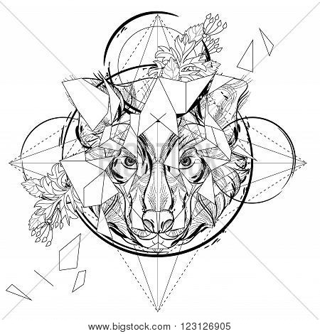 Animal head triangular icon geometric trendy line design. Vector illustration ready for tattoo or coloring book. Wolf head low-poly sketch.