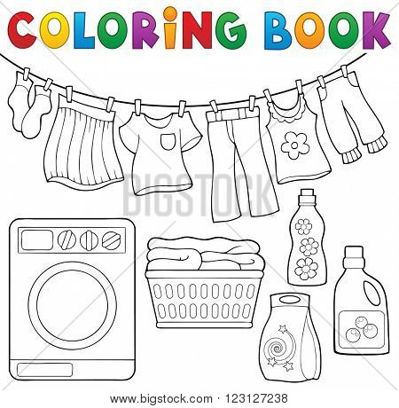 Coloring book laundry theme 2 - eps10 vector illustration.