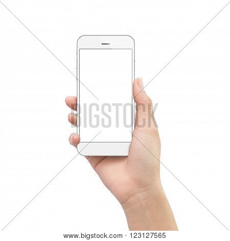 hand holding phone isolated on white clipping path inside