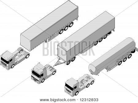 Vector semitruck set