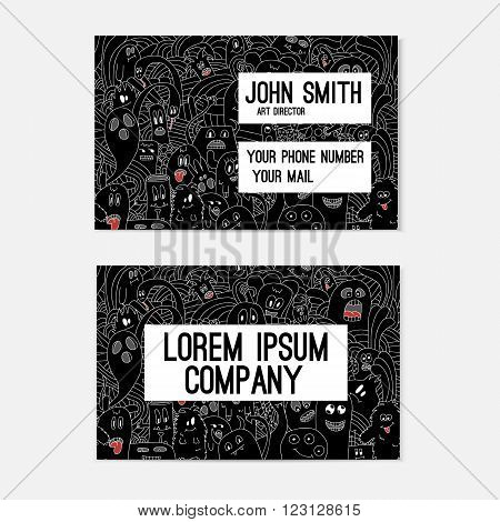 Business card template whit funny doodle monsters. Corporate identity. Illustration in white and black colors.
