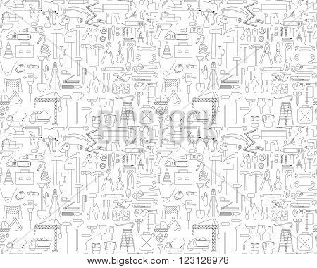 Seamless pettern with construction icons. Vector illustration in black and white colors.
