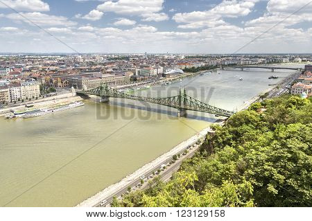 BUDAPEST, HUNGARY, JULY 10, 2015: Panoramic view of Danube River and Budapest City, Hungary