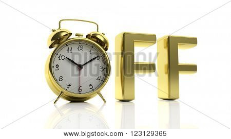 3D golden word Off with alarm clock as letter
