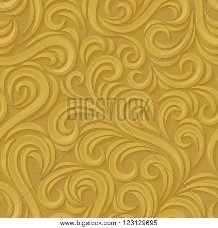 Swirl seamless pattern. Abstract golden vector wavy background with shadow.