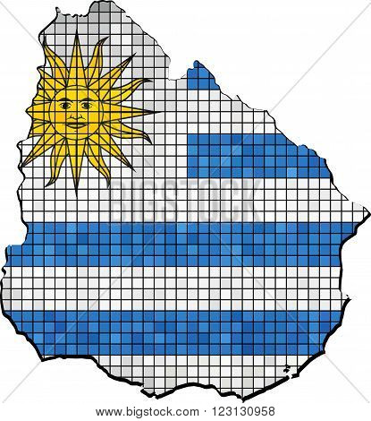 Uruguay map with flag inside - Illustration, Uruguay map grunge mosaic, Uruguayan flag & map of Uruguay,  Abstract grunge mosaic vector