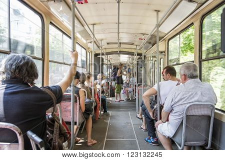 BELGRADE, SERBIA, JULY 6, 2014: People travelling with the bus, the public city transport in Belgrade is performed by GSP