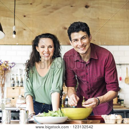 Couple Cooking Hobby Lifestyle Concept