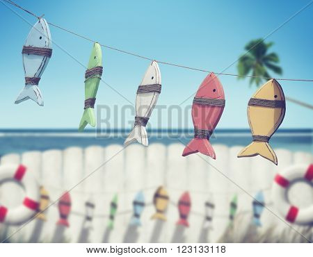Fish HAnging Peg Fence Coconut Tree Sea Ocean Concept