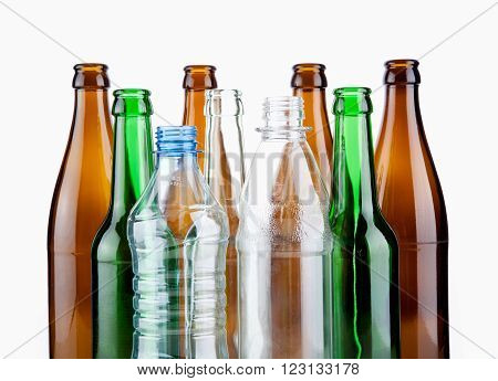 Empty bottles waste glass isolated on white background