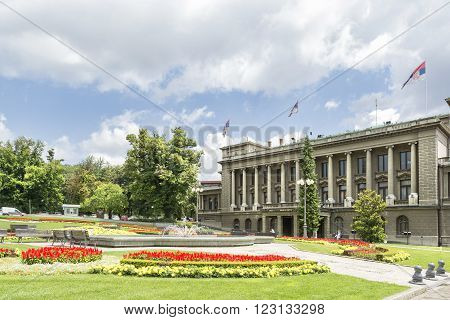 BELGRADE, SERBIA, JULY 3, 2014: Exterior shot of Stari Dvor (The Old Palace), the royal residence of the Obrenovic dynasty. Today it houses the City Assembly of Belgrade.