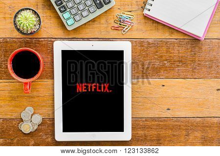 CHIANGMAI, THAILAND -JANUARY 10, 2016: IPad 4 open Netflix application. Netflix is an American provider of on-demand Internet streaming media available founded in 1997 by Marc Randolph and Reed Hastings.
