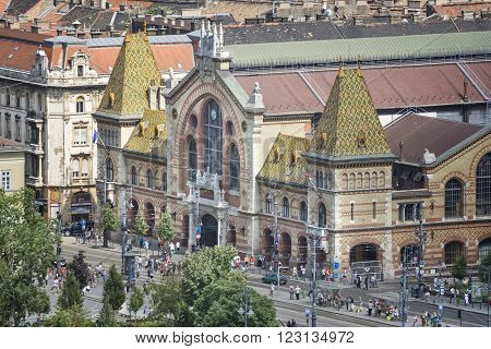 BUDAPEST, HUNGARY, JULY 10,2015: Exterior of Great Market Hall of Budapest, the largest and oldest indoor market in Budapest, Hungary, located at the end of famous shopping street Vaci utca.