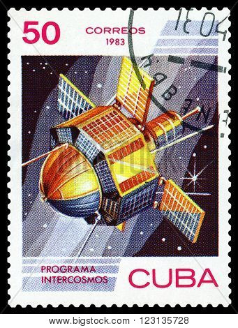 CUBA - CIRCA 1983: a stamp printed by Cuba shows satellite Space Program of the Soviet Union circa 1983