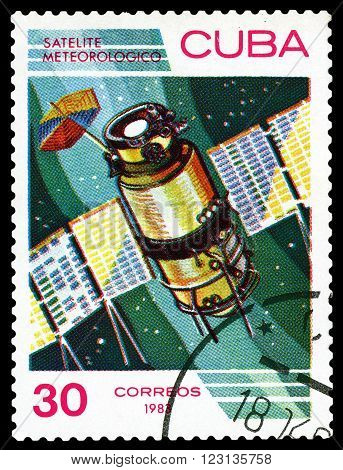CUBA - CIRCA 1983: a stamp printed by Cuba shows Meteorological satellite the study of near-Earth space circa 1983