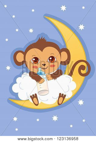 Cute Baby Monkey On The Moon Holding A Bottle Of Milk. Cartoon Vector Card. Baby Monkey For Sale. Baby Monkey Costume. Baby Monkey Doll. Baby Monkey Clothes. Baby Monkey Plush. Baby Monkey Mascot.