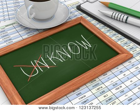 Blackboard with Unknown into known. Three-dimensional Shape