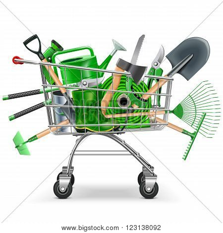 Vector Supermarket Trolley with Garden Accessories isolated on white background