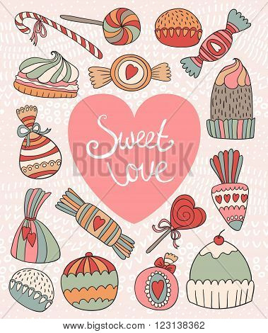 Valentine's Day card with set of doodle candy. Vector illustration.